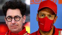 F1, Ferrari: Vettel umiliato si sfoga, Binotto lo fulmina