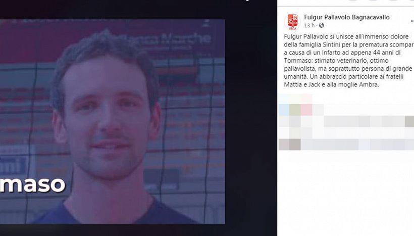 Lutto nel volley: la pallavolo piange l'ex Tommaso Sintini