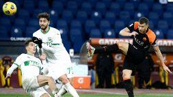 Roma-Sassuolo 0-0: VAR e rossi, niente gol all'Olimpico