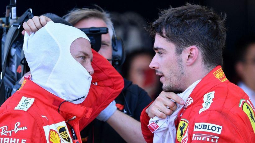 Formula 1, in Ferrari, tutto è nero: Vettel è così intenso, Leclerc china la testa