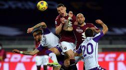 Torino-Fiorentina 1-1: Pareggio granata nel finale, i viola chiudono in nove
