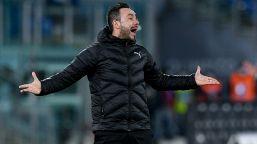 """De Zerbi: """"La Lazio è più forte e noi non siamo al meglio"""""""