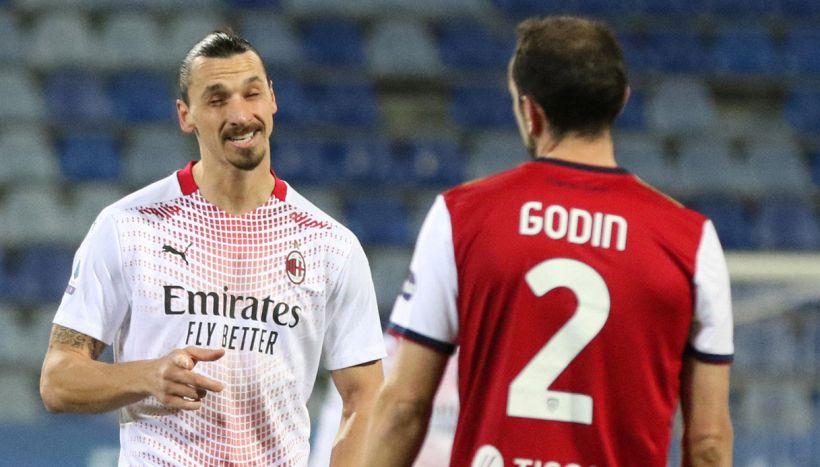 Cagliari-Milan: lite in campo tra Ibra e Godin; manca un rigore