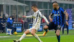 Inter-Juve, Vidal polemico al momento del cambio