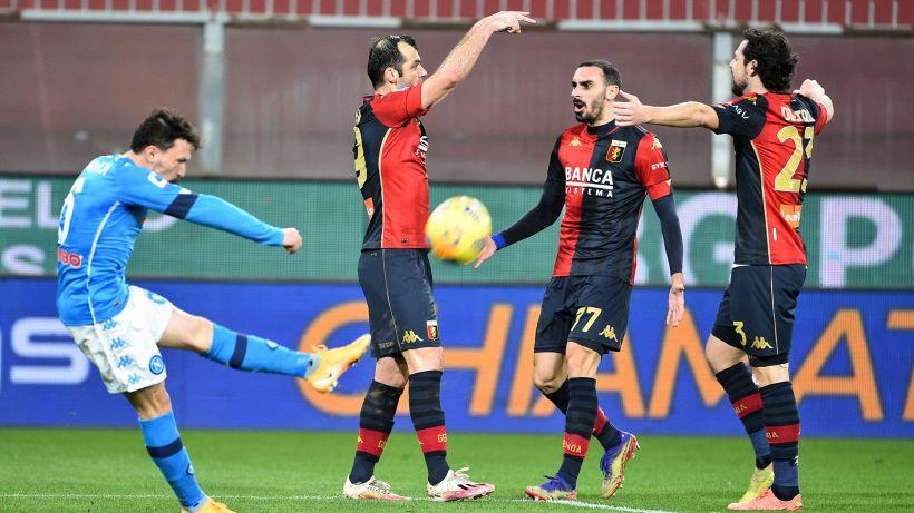 Napoli ko, Pandev ex spietato: doppietta e 2-1 Genoa