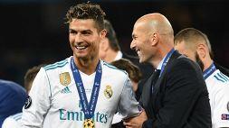 """Zidane: """"CR7 al Real Madrid? Sì, può essere"""""""