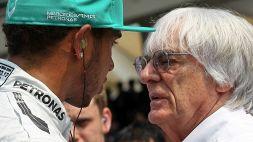"""F1, Ecclestone torna ad accusare Hamilton: """"pochi 10'' di penalità"""""""