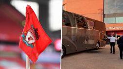 Paura per il Real Madrid a Liverpool: il pullman preso a sassate
