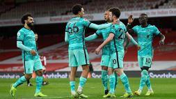 Premier League, tris del Liverpool all'Emirates Stadium