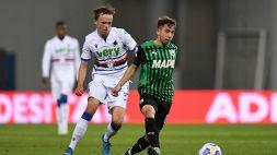 Sassuolo-Sampdoria 1-0: decide una rovesciata di Berardi. Le pagelle