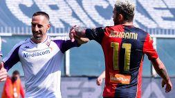 Genoa-Fiorentina, rosso diretto per Ribery: piede a martello su Zappacosta