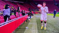 """Ajax-Roma, raccattapalle lancia palla su Calafiori: """"Ci può stare"""""""