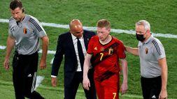 Belgio-Portogallo, De Bruyne di nuovo ko: sostituito al 48'