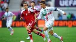 """Euro 2020, malore Eriksen, Cristiano Ronaldo: """"Sii forte Chris!"""""""