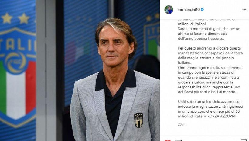 Roberto Mancini emoziona con una lettera alla vigilia di Euro2020