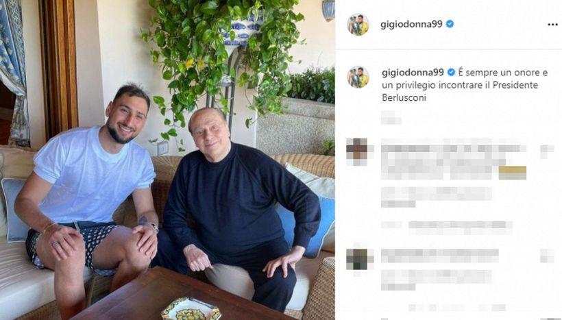 Donnarumma saluta il presidente Berlusconi: il tributo dopo Euro 2020