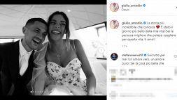 Stefano Sensi sposa Giulia Amodio: 300 invitati, folla in strada