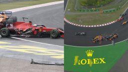 F1, Gp Ungheria: che carambola al via! Leclerc colpito, è fuori
