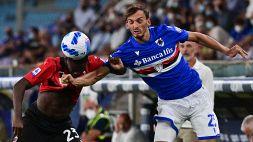 Sampdoria-Milan, Gabbiadini in lacrime: problema alla caviglia