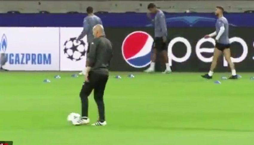 Zidane, show in allenamento: guardate che numero