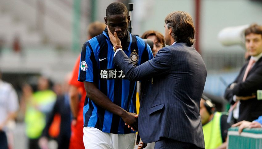 Mario Balotelli e Roberto Mancini, ai tempi dell'Inter. Foto: Getty Images.