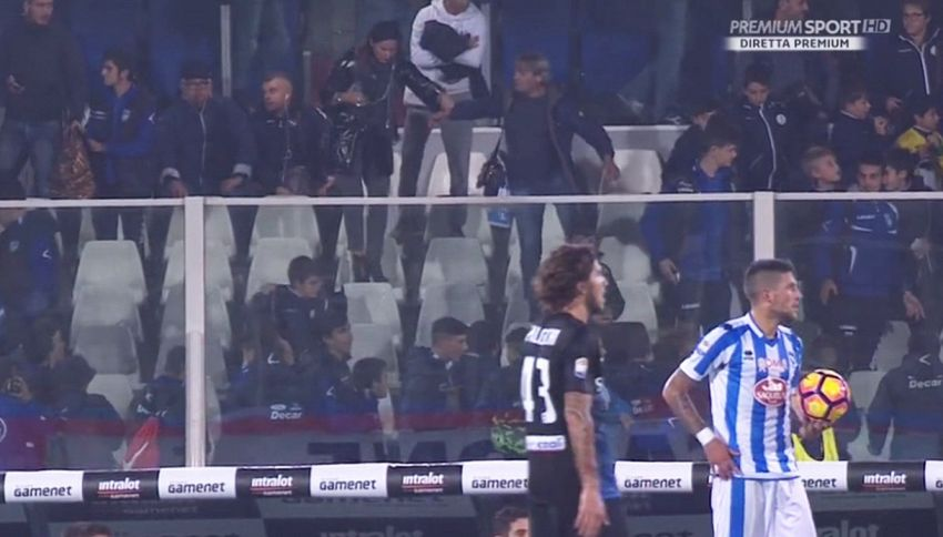 Trema anche lo stadio: sospesa Pescara-Atalanta. Panico sugli spalti