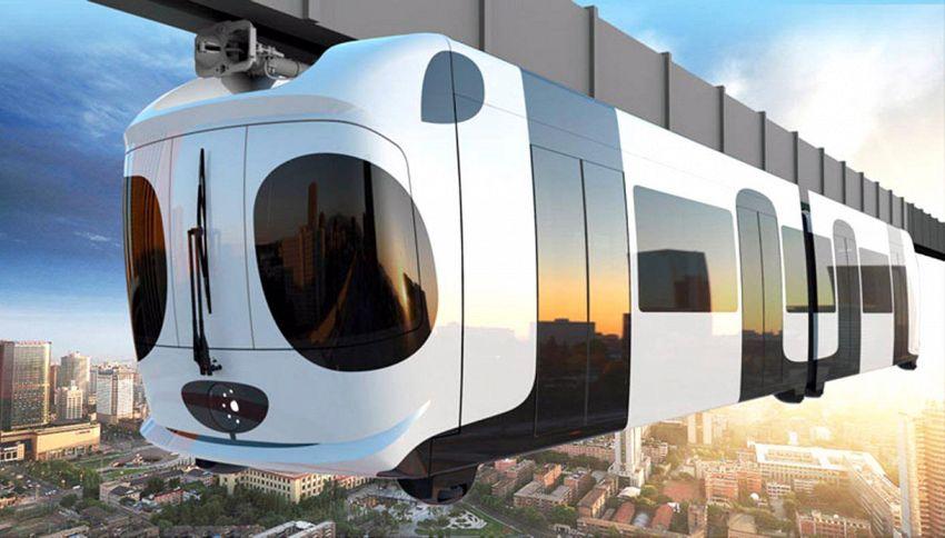 In Cina c'è un treno sopraelevato che sembra un panda