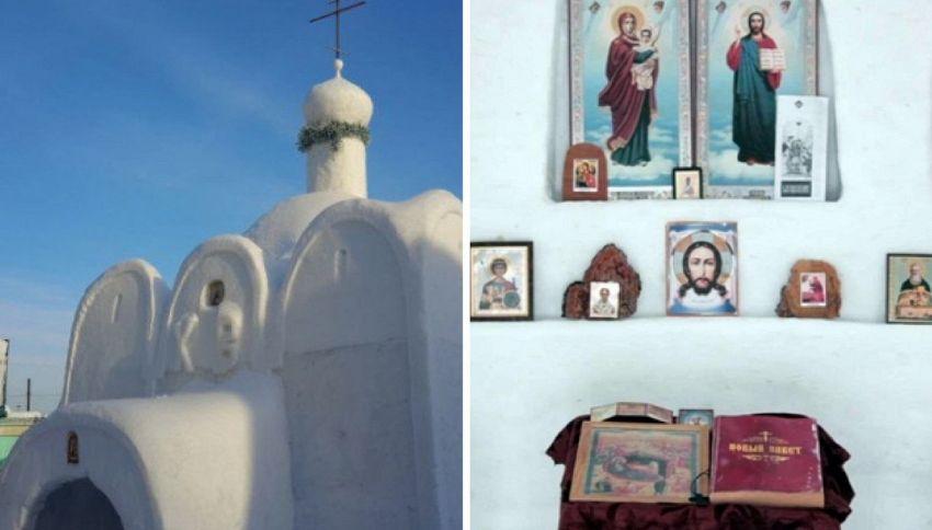 L'uomo che ha costruito una chiesa di neve in Siberia