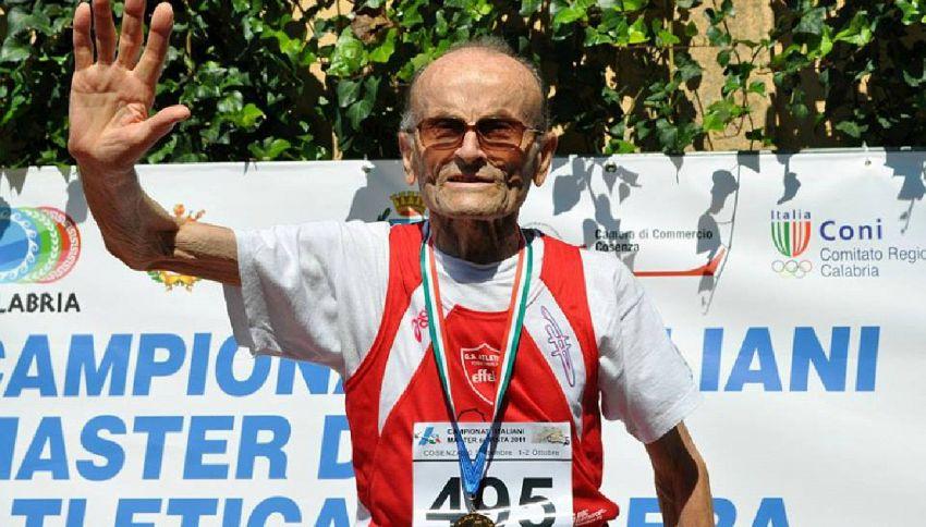 Giuseppe, 100 anni e un salto in lungo da record