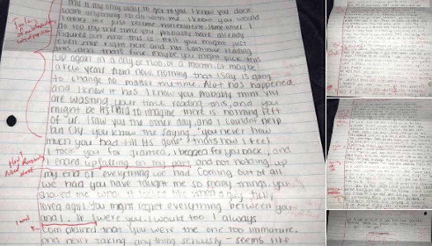 Lettera di scuse dell'ex-fidanzata? Lui la rispedisce 'corretta'