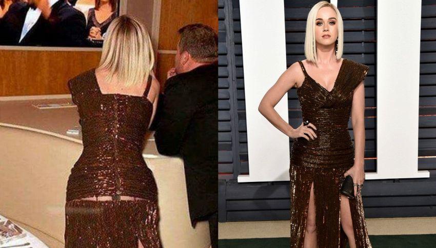 Oscar 2017: Katy Perry e il vestito strappato sul lato B