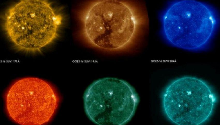 Spazio: il Sole a colori nelle foto del satellite Geos 16