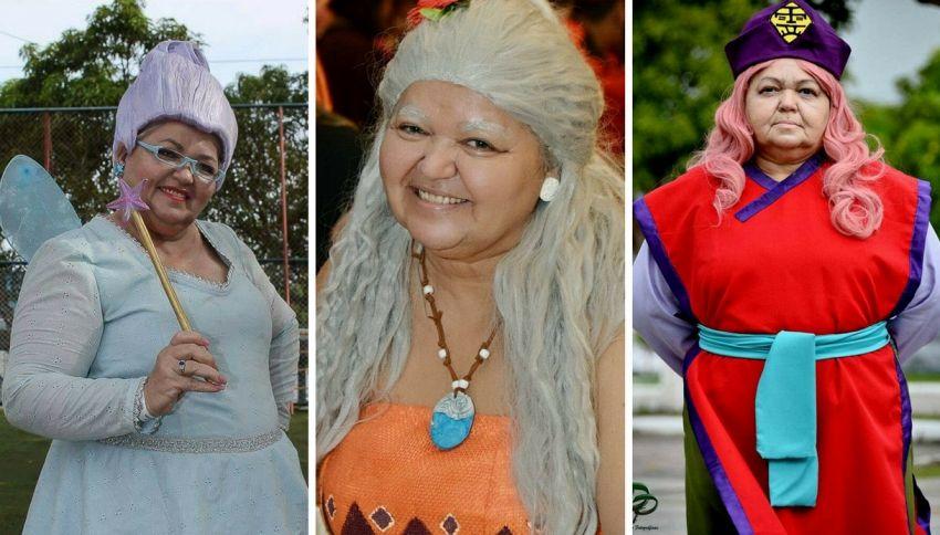 La cosplayer che indossa i panni dei personaggi cartoon anziani