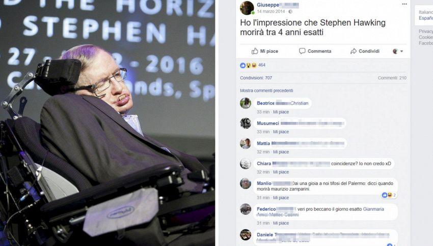 Un tizio sostiene di aver predetto la morte di Stephen Hawking