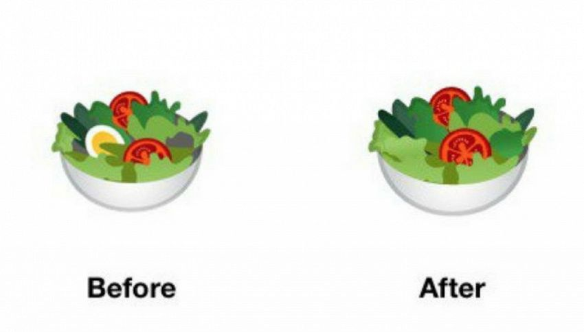 Perché Google ha rimosso l'uovo dall'emoji dell'insalata?