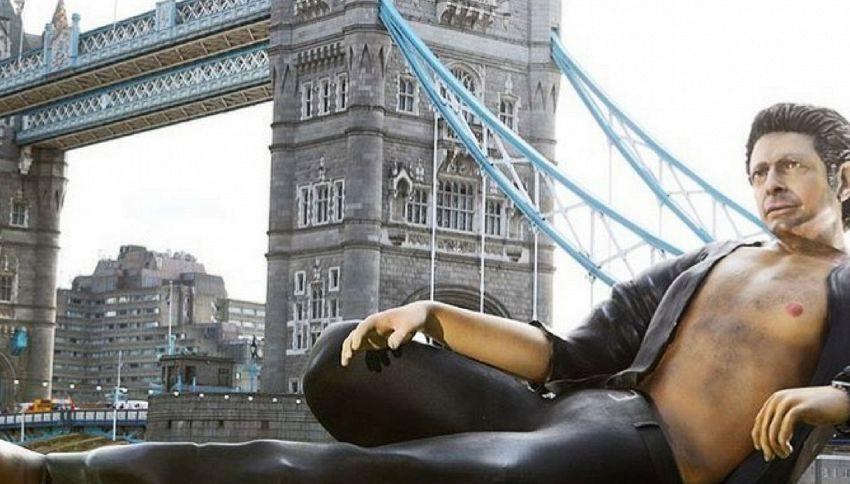 """Compare a Londra la statua del dr. Ian Malcolm di """"Jurassic Park"""""""