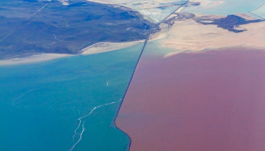 Great Salt Lake, metà verde metà rosso: lo spettacolo dall'alto