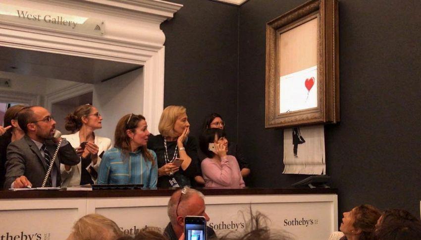Banksy: asta milionaria ma 'Girl With Balloon' si autodistrugge