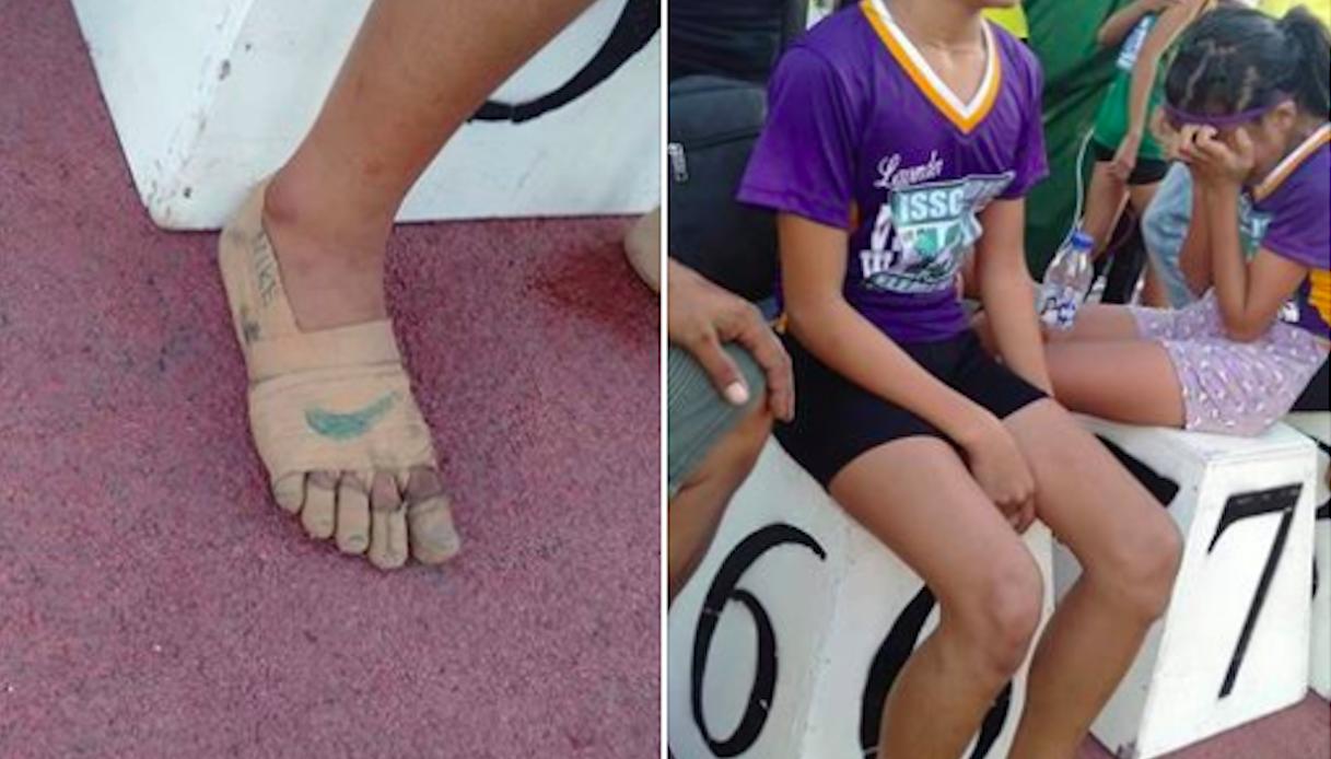 Atleta di 11 anni vince correndo con scarpe fatte a mano