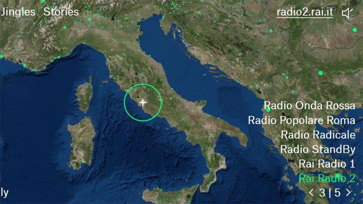 Interfaccia di Radio Garden