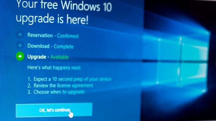 Windows 10 installazione aggiornamento