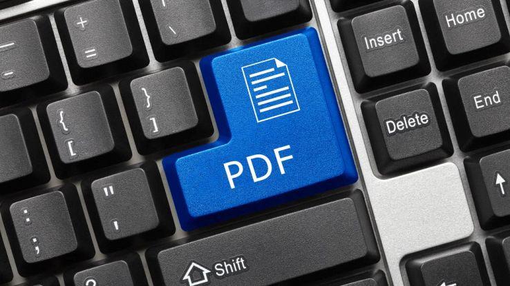 Il tasto PDF dentro una tastiera del PC