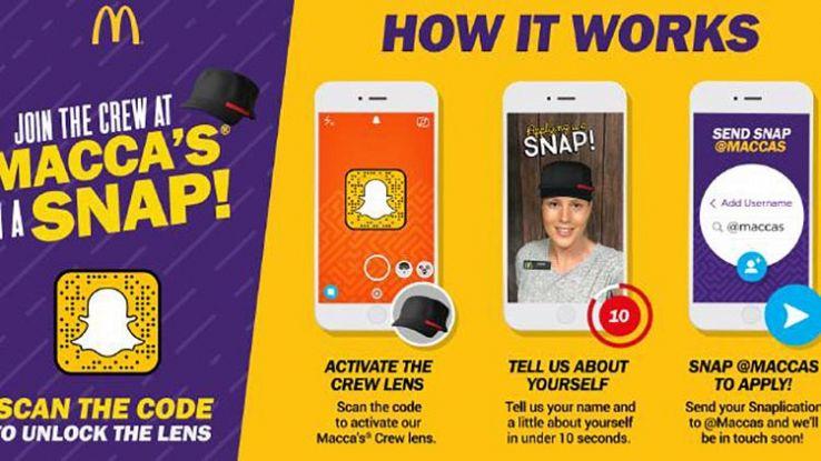 Vuoi lavorare da McDonald's? Registra il curriculum con Snapchat
