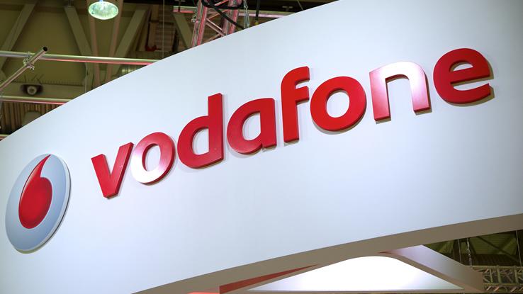 Il simbolo di Vodafone in uno stand