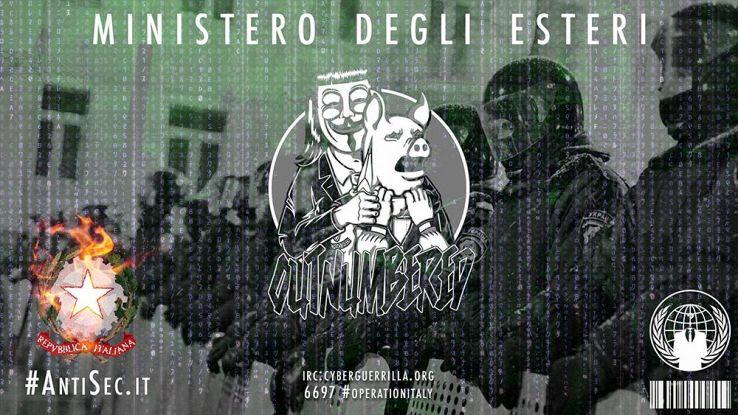 Anonymous attacca il Ministero degli Esteri, pubblica email e password