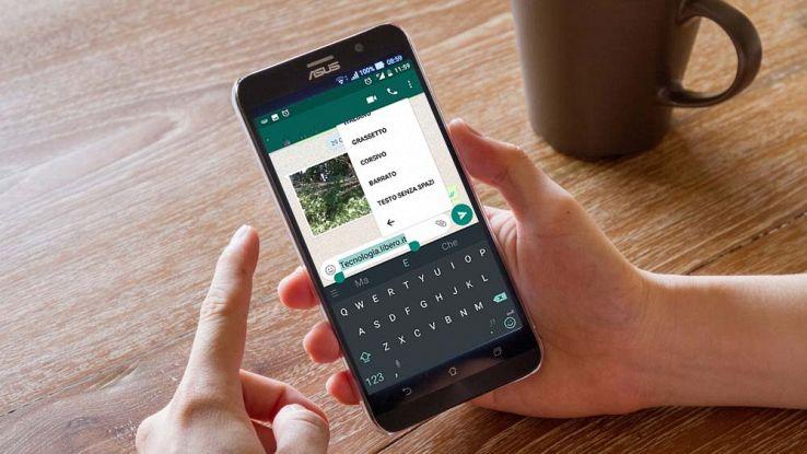 Whatsapp per Android, come formattare il testo dei messaggi