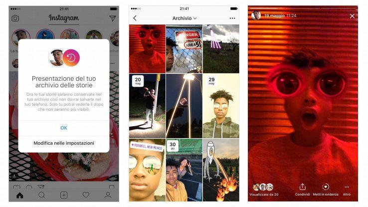 Instagram, un archivio per le Storie
