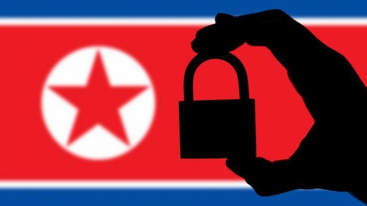 Lucchetto su sfondo della bandiera nordcoreana