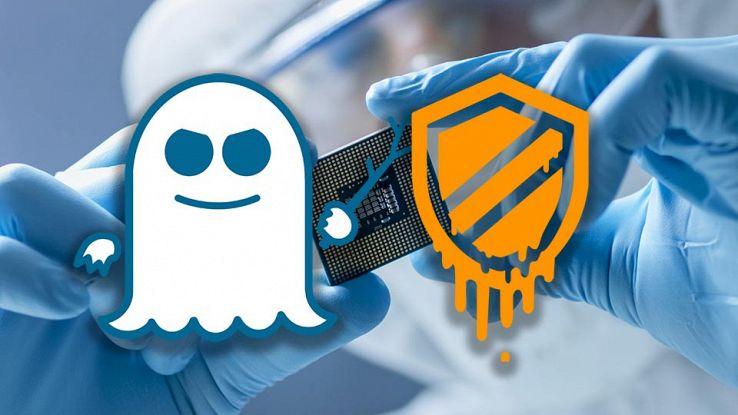 Loghi di Spectre e Meltdown su un processore