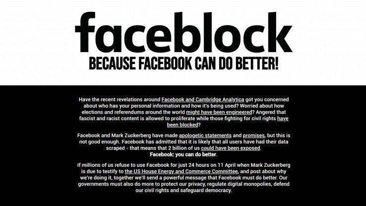 Faceblock, 1 giorno di blackout